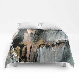 01025: a neutral abstract in gold, black, and white Comforters