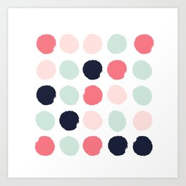 Painted dots trendy color palette minimal polka dots decor nursery home Art Print