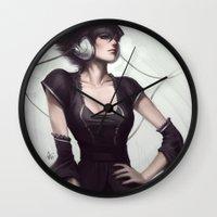 vogue Wall Clocks featuring Pepper Vogue by Artgerm™