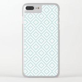 Aztec Block Symbol Ptn Blue & White II Clear iPhone Case
