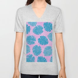 Pink Blue Hand Painted Swiss Cheese Plant Leaves Unisex V-Neck