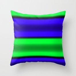 Green & Blue Horizontal Stripes Throw Pillow