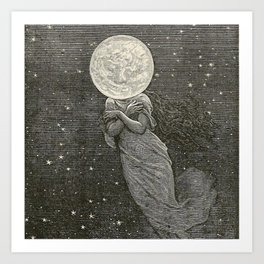 AROUND THE MOON - EMILE-ANTOINE BAYARD Art Print