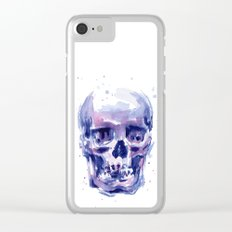 Skull Watercolor Purple Colorful Clear iPhone Case