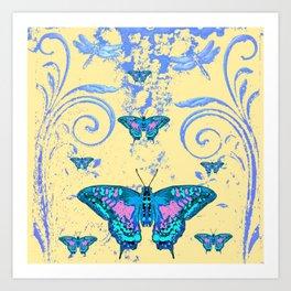 ORNATE BLUE BUTTERFLIES SCROLL DESIGNS  ART Art Print