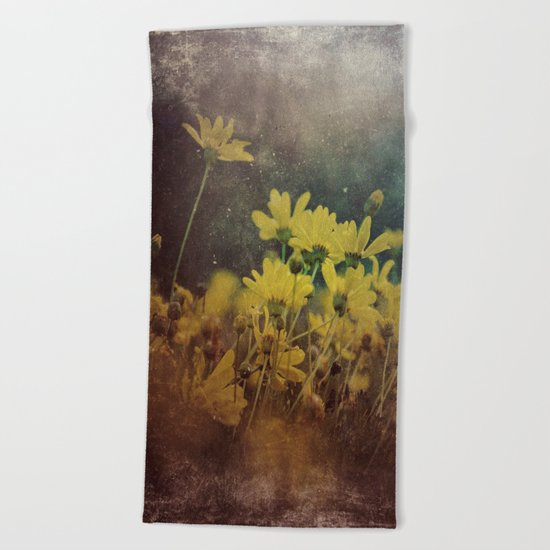 Abstract Yellow Daisies Beach Towel
