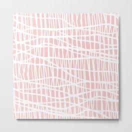 Net White on Blush Metal Print