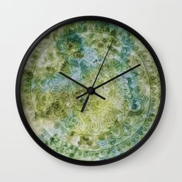 Green Mandala Watercolour Wall Clock