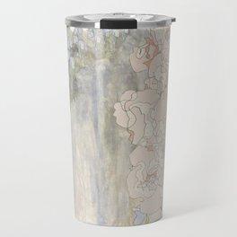 Bluebells and Hollyhocks girdle the earth Travel Mug