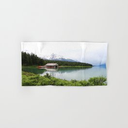 Boat House On Maligne Lake Hand & Bath Towel