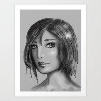 Girl in Gray Art Print