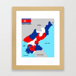 political map of north korea country with flag Framed Art Print