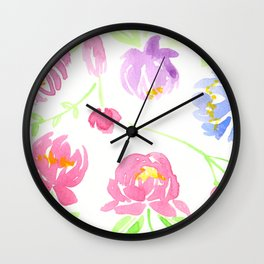 Peonies All Around Wall Clock