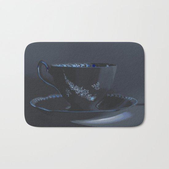 The Black Teacup | Still Life | Kitchen Art | Tea Bath Mat