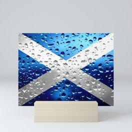 Flag of of Scotland - Raindrops Mini Art Print