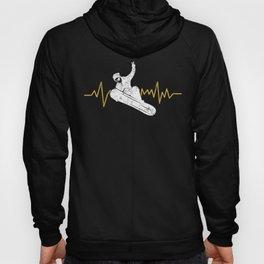Snowboard Snowboarder Heartbeat EKG Vintage Distressed Hoody