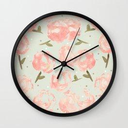 Syana's Cabbage Roses Wall Clock