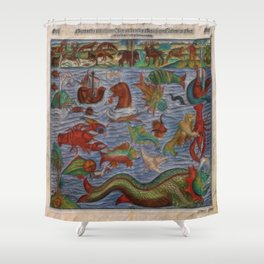 Antique Monster Card Shower Curtain