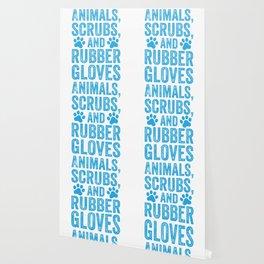Funny Veterinarian Vet Tech Animals Scrubs And Rubber Gloves Wallpaper