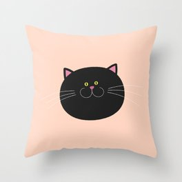 Happy Cat Portrait Throw Pillow