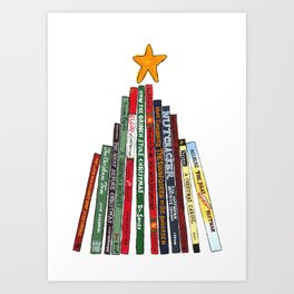 Christmas Tree Book Painting for Holidays Art Print