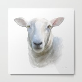 Watercolor Sheep Metal Print