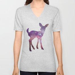 Fawn Spirit Animal - Galaxy Silhouette Deer Unisex V-Neck