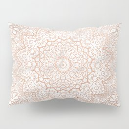 Mandala - rose gold and white marble 3 Pillow Sham