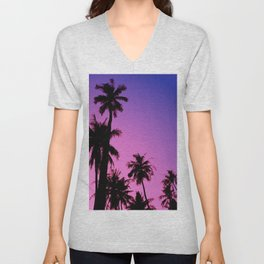 Tropical palm trees with purplish gradient Unisex V-Neck