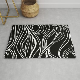 Abstract Swirling Waves / Black and White Rug