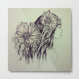 Girl with cosmos Metal Print