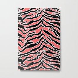 Tiger Print - Coral Metal Print