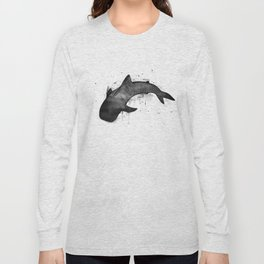 Whale shark, black and white Long Sleeve T-shirt
