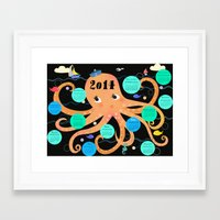 calender Framed Art Prints featuring Octopus Calender 2014 by Elisandra