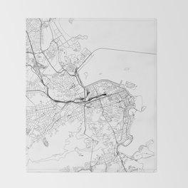 Rio De Janeiro White Map Throw Blanket