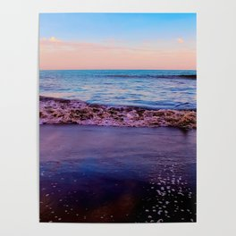 beach sunset with beautiful blue cloudy sky and blue wave in summer Poster
