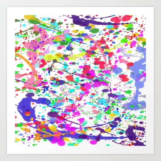 Paint Splatter 1 - White Art Print