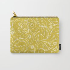 Garden Floral Drawing on Yellow Carry-All Pouch