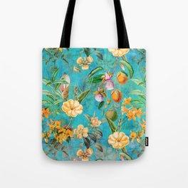 Vintage & Shabby Chic - Exotic Summer Blue Botanical Flowers Garden Tote Bag