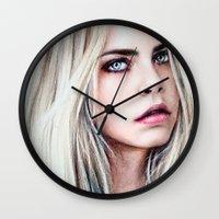 cara Wall Clocks featuring CARA by Laura Catrinella