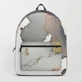 Gold and black abstract alcohol inks painting Backpack
