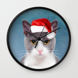Cat Art Portrait With Santa Hat Wall Clock