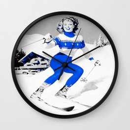 Snow Bunny Pin Up Girl Blue Wall Clock
