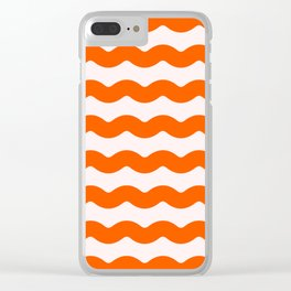 2019 Color: Unapologetic Orange on Pink Waves Clear iPhone Case