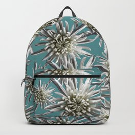 Mum Floral Pattern - Mum's the word - Auqa and White Floral Design - White Mum Flowers - I Love my M Backpack