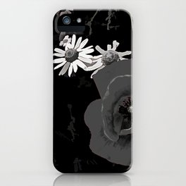 Summer flowers POPPIES, DAIRIES, CORNFOWERS #2 b&w iPhone Case