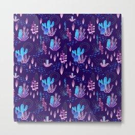 Neon Cacti Metal Print