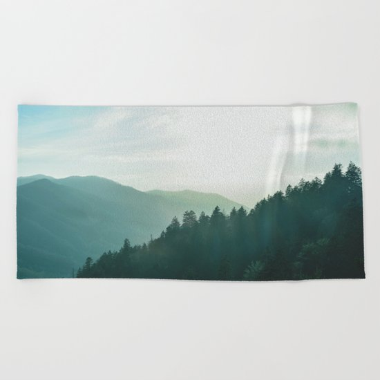 Green Forest, Slow down! Beach Towel
