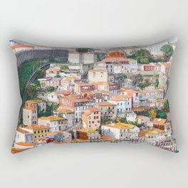 Traditional Porto houses, with Guindais Funicular and the Fernandina Wall to the left. Rectangular Pillow