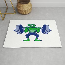 Alligator Lifting Heavy Barbell Mascot Rug
